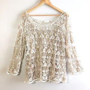 Guess Adiva Lace Overlay Long Sleeve Boho Top